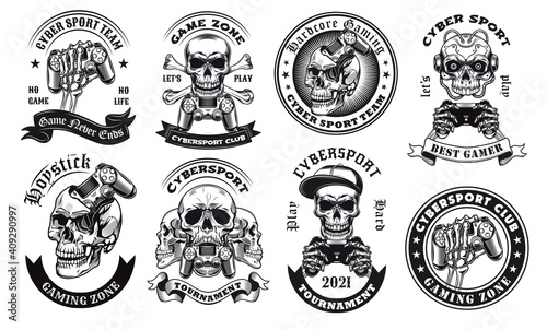 Fényképezés Black cybersport label designs vector illustration set
