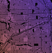 Chicago, Illinois, United States (USA) - Urban Vector Megacity Map With Parks, Rail And Roads, Highways, Minimalist Town Plan Design Poster, City Center, Downtown, Transit Network, Gradient Blueprint