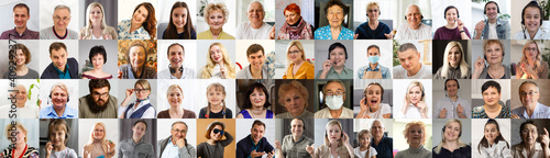 Canvas Print Multi ethnic people of different age looking at camera collage mosaic horizontal banner