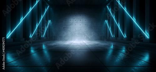 Photo Cement Concrete Sci Fi Futuristic Cyber Neon Electric Laser Lights Glowing Blue