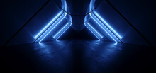 Cyber Triangle Neon Laser Glowing Dark Sci Fi Futuristic Led Blue Lights Tunnel Corridor Cement Concrete Spaceship Parking Underground Background Warehouse 3D Rendering