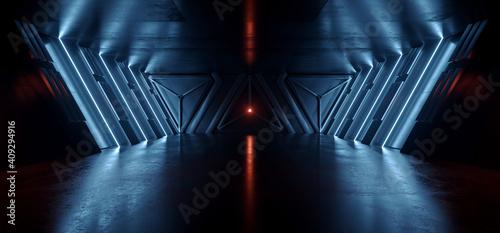 Carta da parati Neon Blue Laser Lines Sci Fi Cyber Futuristic Spaceship Tunnel Corridor Glowing