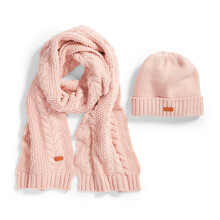 Pink Wool Ski Cable Knit Hat Scarf Set Isolated On White. Women's Bobble Hat Topped With Loose Tassels. Knit Cap Knitting Pattern Folded Brim. Knitted Warm Hat. Tuque Or Toque Outdoors Headgear