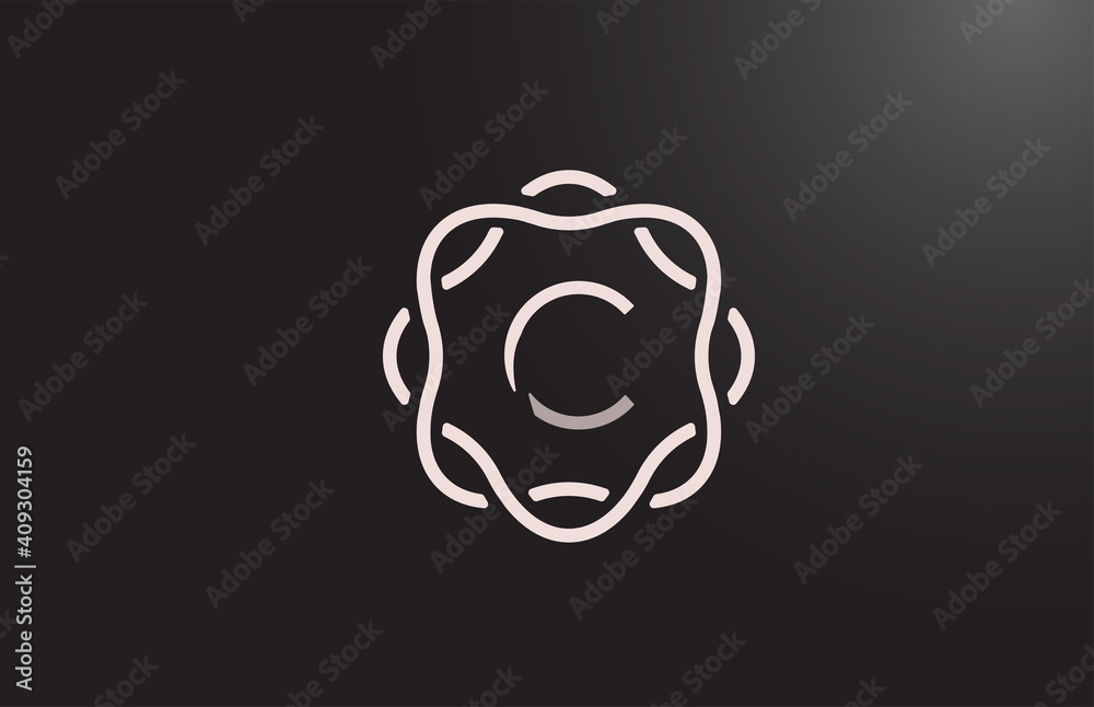 Fototapeta C alphabet letter logo for business and company in black and white. Branding for corporate identity with floral monogram pattern. Creative lettering icon for design