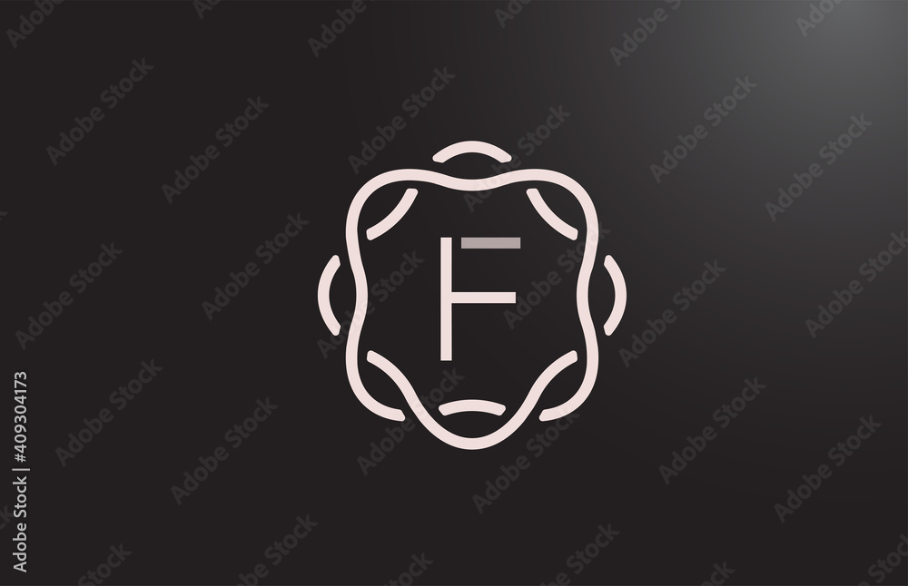 Fototapeta F alphabet letter logo for business and company in black and white. Branding for corporate identity with floral monogram pattern. Creative lettering icon for design