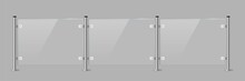 Glass Or Plexiglass Fence With Banisters. Architectural Guardrail For Balcony Or Office Terrace Vector Illustration. Realistic Modern Decoration Front View On Gray Background