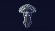 Silver Alien Queen Bust With Green Blue White Moody 80s Lighting 3d Illustration 3d Render