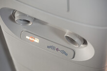 Fasten Seat Belt And No Smoking Signs In Airplane Interior