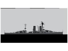 HMS CANADA 1915. Royal Navy Battleship. Vector Image For Illustrations And Infographics.