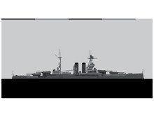 HMS QUEEN ELIZABETH 1915. Royal Navy Battleship. Vector Image For Illustrations And Infographics.