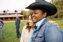 Happy Women Friends On Rural Ranch