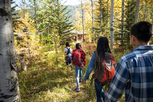 Family Hiking Among Trees In Idyllic Autumn Woods
