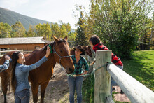 Rancher Helping Family Brush Horse In Sunny Autumn Ranch Paddock