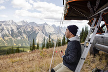Serene Man Overlanding In Majestic Scenic Mountains, Canadian Rockies