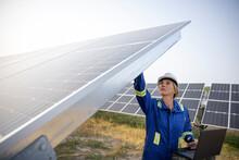Technician Inspecting Solar Panels