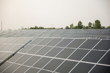 Rows Of Solar Panels In Power Station