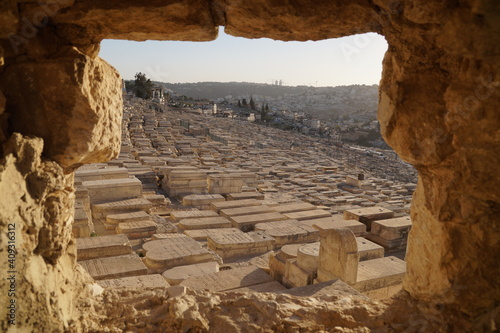 Fototapeta Jewish Cemetery on the Mount of Olives