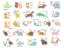 Colorful Zoo Alphabet With Cute Animals Flat Illustration Set. Cartoon Letters From A To Z For Children Isolated Vector Illustration Collection. Preschool And School Education Concept
