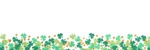 St Patricks Day Shamrock And Gold Coin Confetti Banner Border Isolated On A White Background With Copy Space