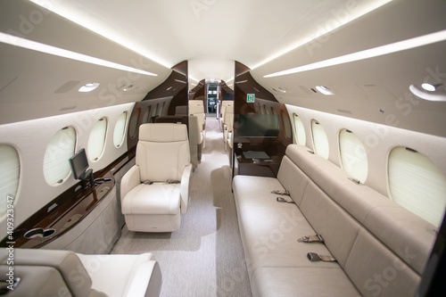 interior jet cabin looking forward Fotobehang