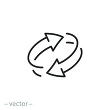 Two Arrow Spin Icon, Recycle Round, Circle Refresh Or Restart, Thin Line Symbol On White Background - Editable Stroke Vector Illustration Eps10