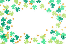 St Patricks Day Shamrock And Gold Coin Confetti Frame Isolated On A White Background With Copy Space