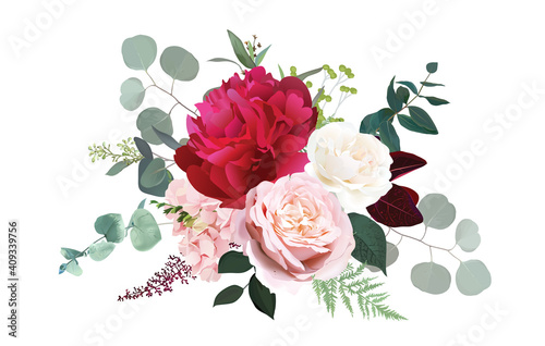 Canvas Print Burgundy red peony, dusty pink and ivory rose, blush hydrangea flowers