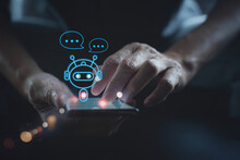 Digital Chatbot, Robot Application, Conversation Assistant, AI Artificial Intelligence, Innovation And Technology Concept