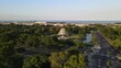 Pan left of Galileo Galilei Planetarium surrounded by Palermo Woods and Rio de la Plata river in background, Buenos Aires, Argentina