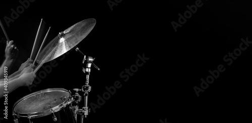 Stampa su Tela Stroboscopic drummer hitting cymbals with drum sticks