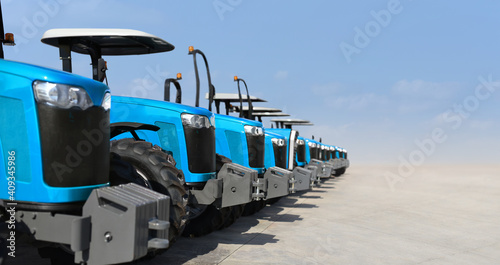 Fotografie, Obraz electric tractors in the parking lot