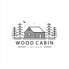 Wood Cabin Line Art Logo Vector Illustration Template Simple Design