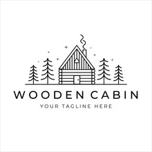 Wooden Cabin Line Art Logo Vector Illustration Design