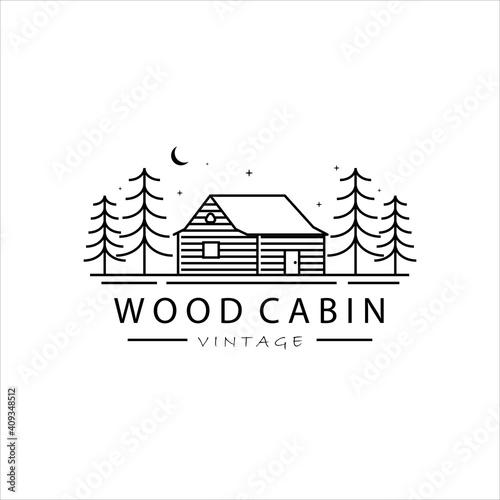 wood cabin line art logo vector illustration template simple design Fototapete