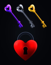 Purple, Silver And Gold Keys With A Red Heart Shaped Lock