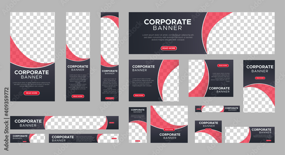 Fototapeta Abstract banner design web template Set, Horizontal header web banner. Modern gradient black cover header background for website design, Social Media Cover ads banner, flyer, invitation card