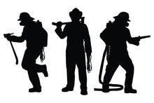 Set Of Firefighter With Equipment Silhouette Vector On White Background