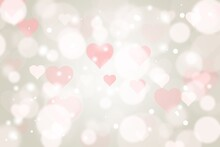 Gray Brown Abstract Texture Background With White Bokeh Pink Heart Blurred Beautiful Shiny Lights Use For Card Valentines Banner Wallpaper Backdrop And Your Product.