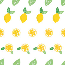 Vector Fresh Lemon Seamless Repeat Pattern Design Background. Creative Fruits Texture For Fabric, Wrapping, Textile, Wallpaper, Apparel. Surface Pattern Design.