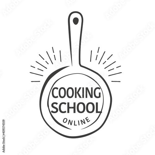 Fototapeta Hand drawn flying pan illustration, logo design for online cooking school obraz