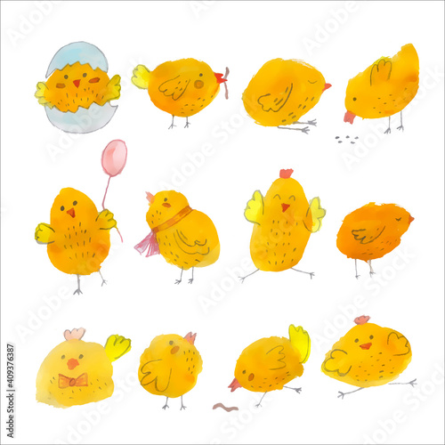 Photographie Set of twelve cute yellow watercolor chickens.