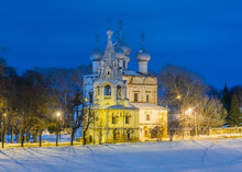 Russia, Vologda, Church, Cathedral, Church Of St. John Chrysostom On The Bank Of The Vologda River In Winter.