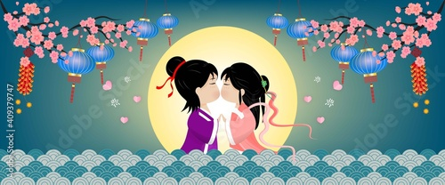 Canvas Print Banner Postcard Qixi festival or Tanabata Vector illustration