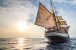 canvas print picture - Altes Segelschiff in der Abendsonne vor Lipari
