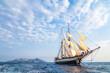 canvas print picture - Windjammer unter Segeln vor Lipari