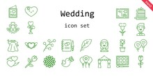 Wedding Icon Set. Line Icon Style. Wedding Related Icons Such As Bride, Pigeon, Love, Cake Slice, Dress, Groom, Balloon, Leaf, Branch, Heart, Sunflower, Swans, Flower, Guests Book