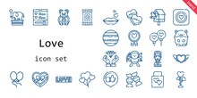 Love Icon Set. Line Icon Style. Love Related Icons Such As Love, Birdhouse, Balloon, Balloons, Like, Candy, Wedding Gift, Hamster, Wishlist, Captain, Kiss, Favourite, Heart, Cupid, Diamond, Venus