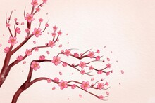 Watercolor Pink Plum Blossom Background