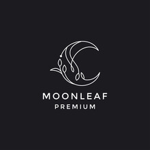 Vector Logo On Which The Abstract Image Of The Moon With An Elegant Twig With Leaves.