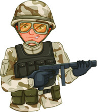 United States Or US Soldier In Ammunition At Camp Or Base. Military Man Or Male With Gun Or Rifle, Helmet And Ammo. Cartoon Officer Or Infantry In Camouflage, Marine Sergeant. Iraq War Theme